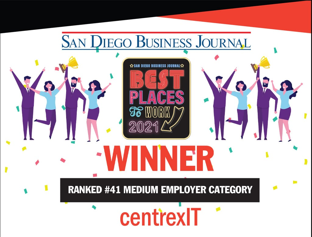 centrexIT Best Places to Work Winner certificate